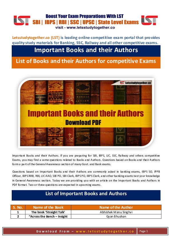 PDF) Important Books and their Authors List of Books and