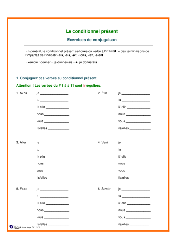 Pdf Le Conditionnel Present Exercices De Conjugaison Hanae Esseddiki Academia Edu