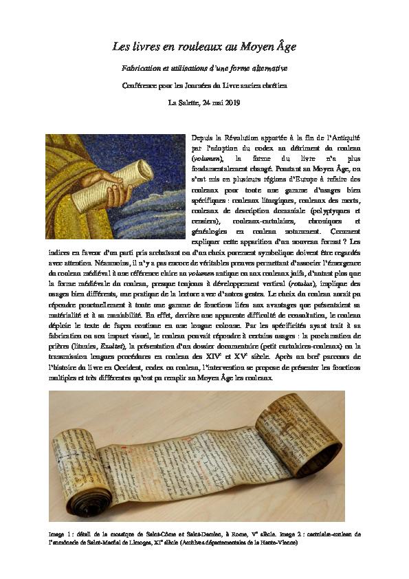 Pdf Les Livres En Rouleaux Au Moyen Age Fabrication Et