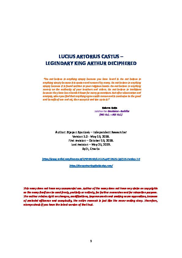 PDF) LUCIUS ARTORIUS CASTUS-LEGENDARY KING ARTHUR DECIPHERED