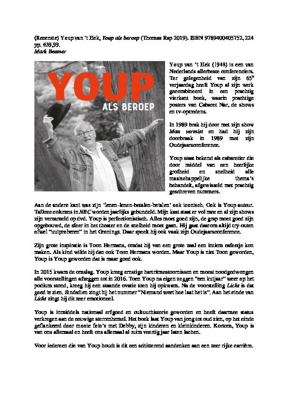 Pdf Mark Beumer Recensie Youp Van T Hek Youp Als Beroep