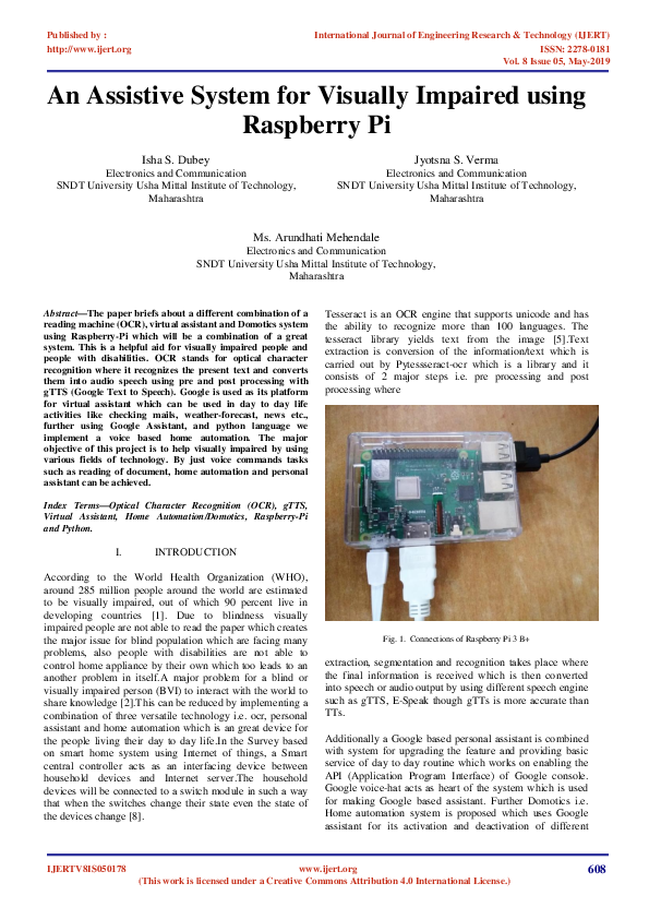 PDF) IJERT-An Assistive System for Visually Impaired using