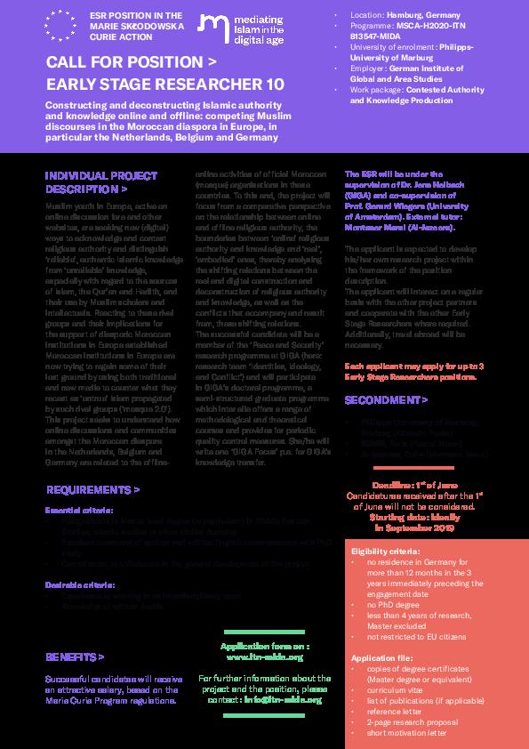 PDF) ESR 10  PhD position (3-year full-time position as ESR within