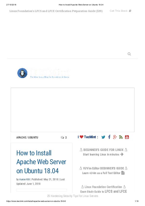 PDF) How to Install Apache Web Server on Ubuntu 18  | Dony D