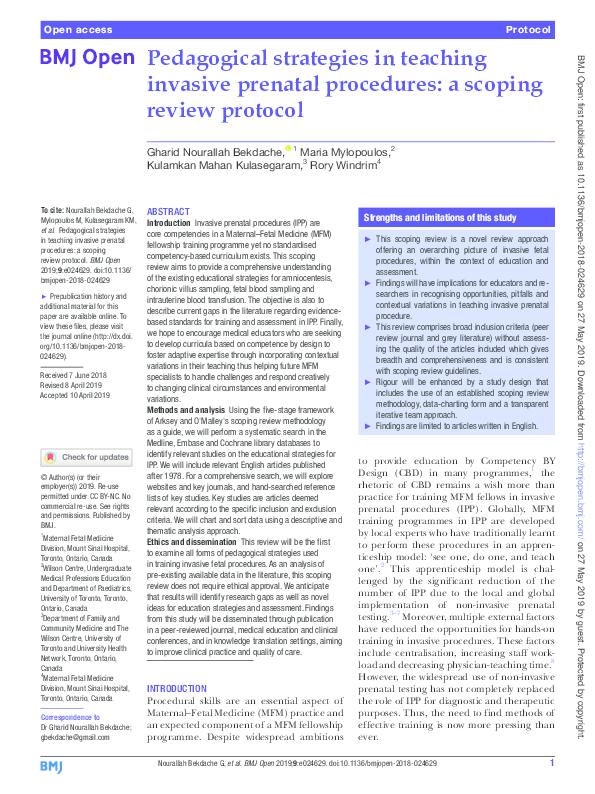 PDF) Pedagogical strategies in teaching invasive prenatal