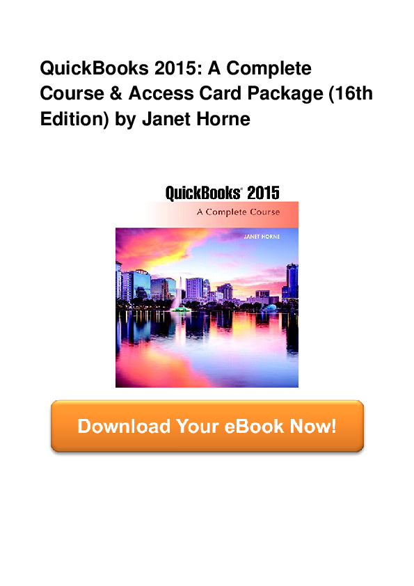 PDF) QuickBooks 2015 A Complete Course Access Card Package