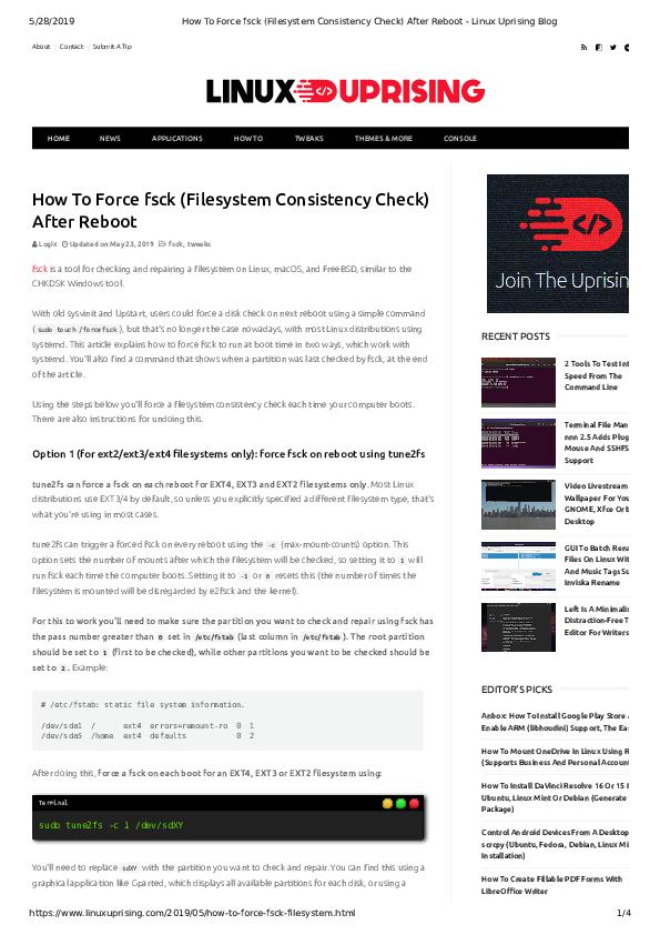 PDF) How To Force fsck Filesystem Consistency Check After