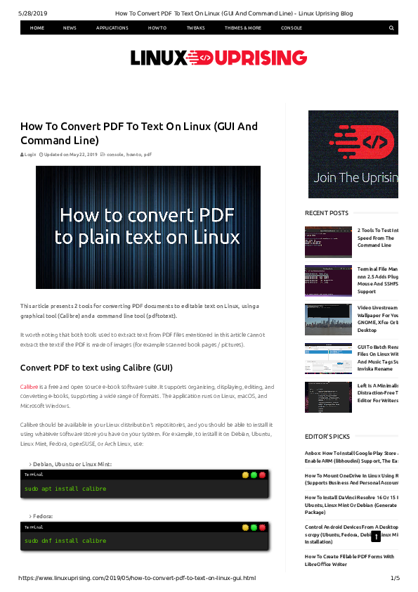PDF) How To Convert PDF To Text On Linux (GUI And Command Line