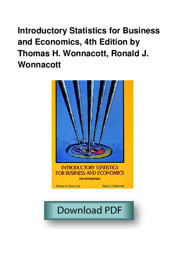 PDF) Introductory Statistics For Business And Economics 4th