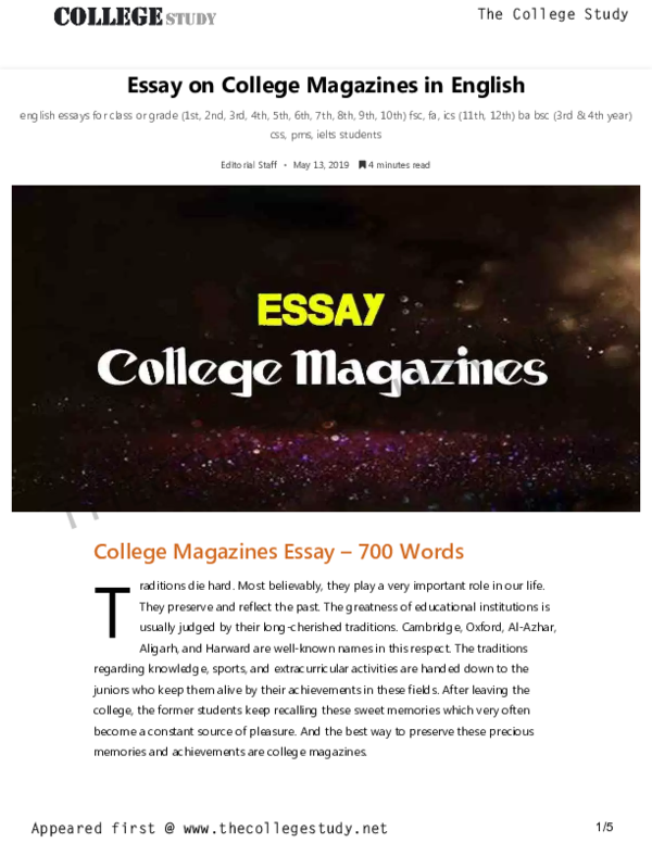 PDF) Essay on College Magazines in English The College Study   The