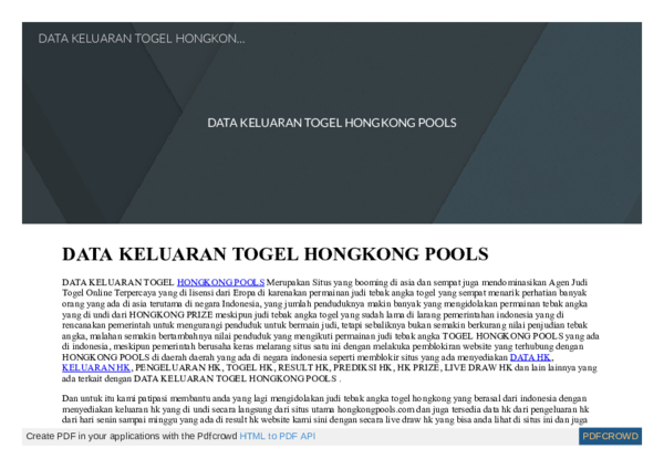 PDF) DATA KELUARAN TOGEL HONGKONG POOLS | Dessy Ratnawati - Academia edu