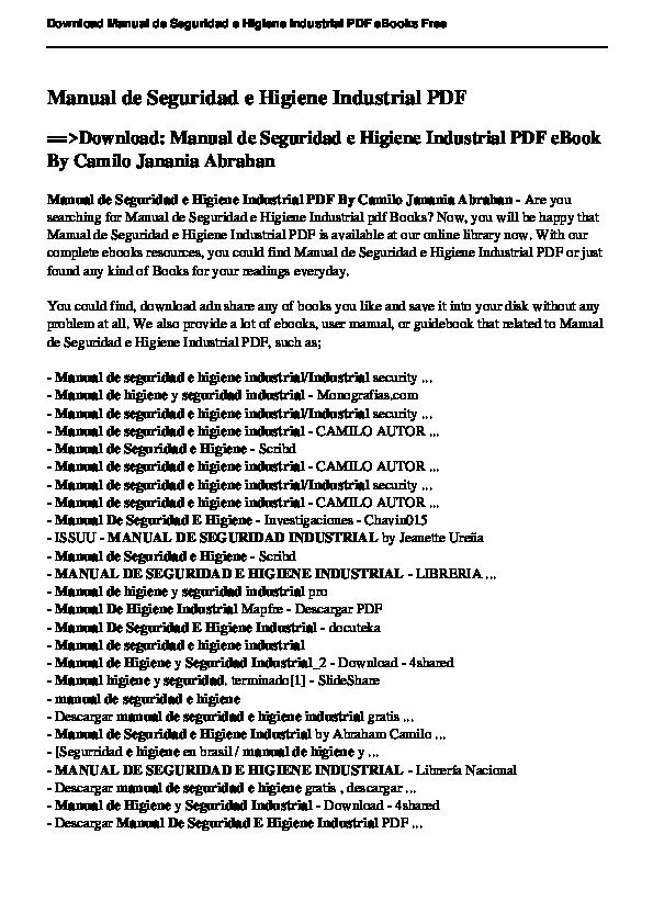 Pdf Manual De Seguridad E Higiene Industrial Pdf Download Manual De Seguridad E Higiene Industrial Pdf Ebook By Camilo Janania Abrahan Mario Andino Academia Edu