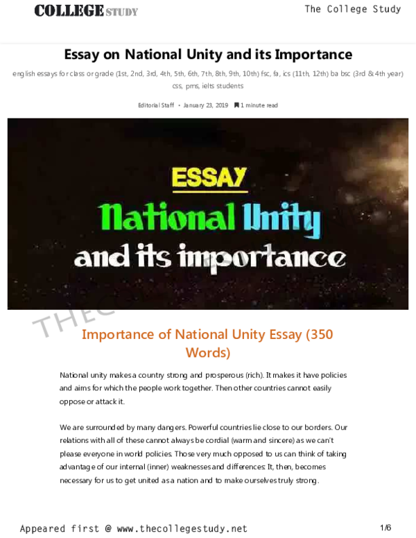 pdf essay on national unity and its importance the college study  pdf