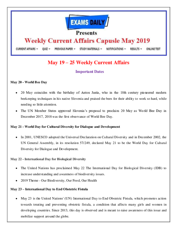 PDF) May 19 -25 Weekly Current Affairs Important Dates May