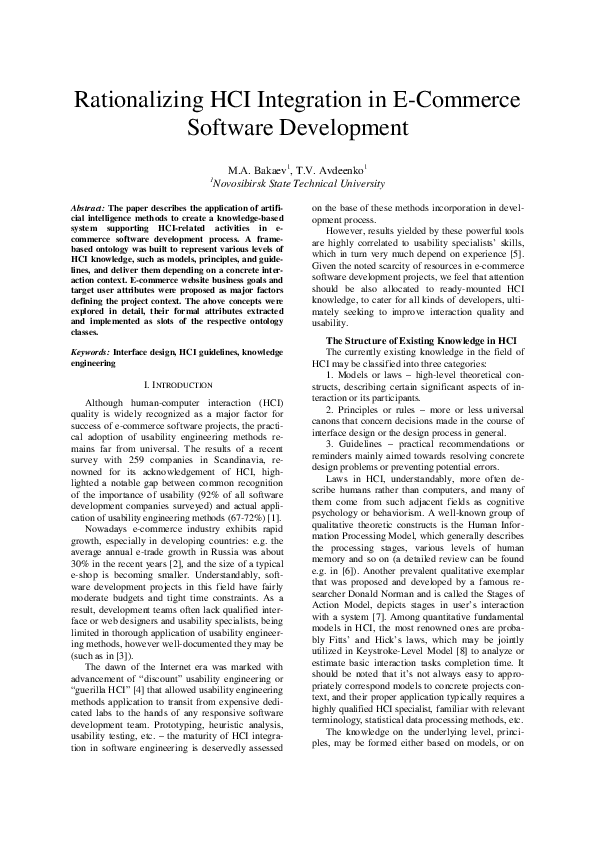Pdf Rationalizing Hci Integration In E Commerce Software Development Maxim Bakaev Academia Edu