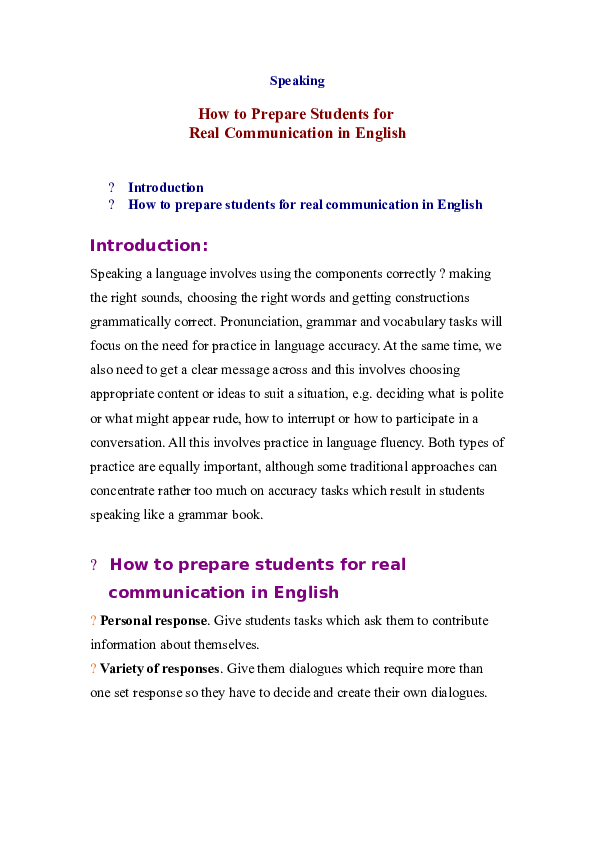DOC) How to Prepare Students for Real Communication in English