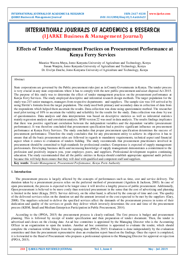 PDF) Effects of Tender Management Practices on Procurement