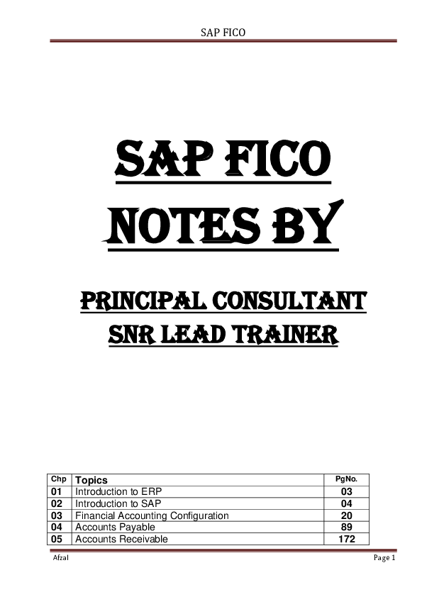 DOC) SAP FICO NOTES FI | Afzal Ashraf - Academia edu