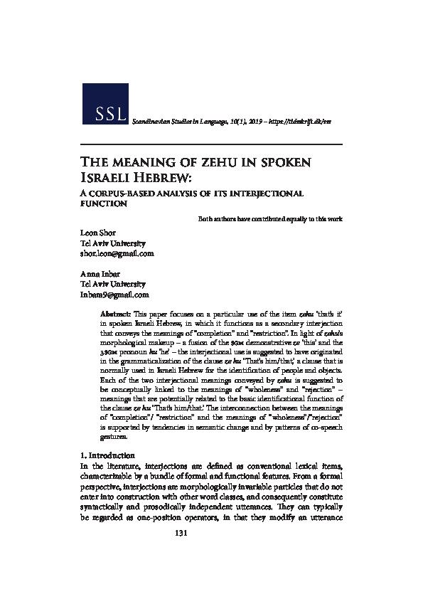 PDF) Shor, L  & Inbar, A  (2019) The meaning of zehu 'that's