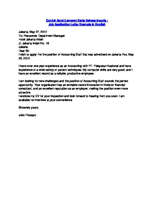 Doc Contoh Surat Lamaran Kerja Bahasa Inggris Job Application Letter Example In English Tuấn Nguyễn Academia Edu