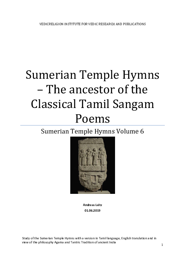 PDF) Sumerian Temple Hymns - The ancestor of the Classical