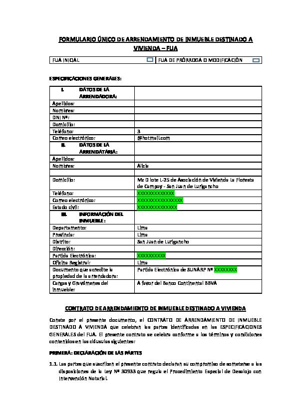 Doc Modelo Contrato De Alquiler Paty Salas Academia Edu