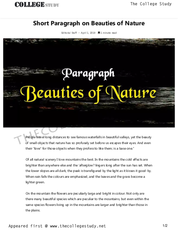 PDF) Short Paragraph on Beauties of Nature The College Study | The