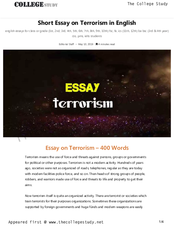 PDF) Short Essay on Terrorism in English The College Study | The