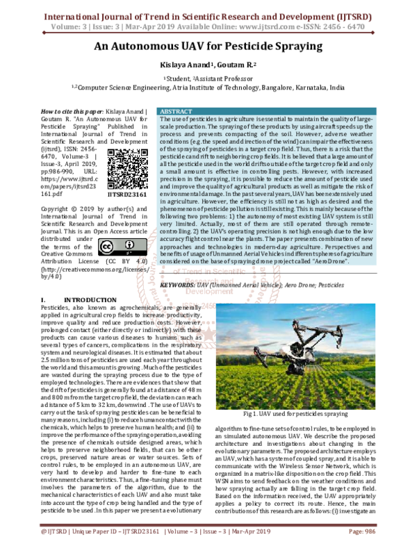 PDF) An Autonomous UAV for Pesticide Spraying