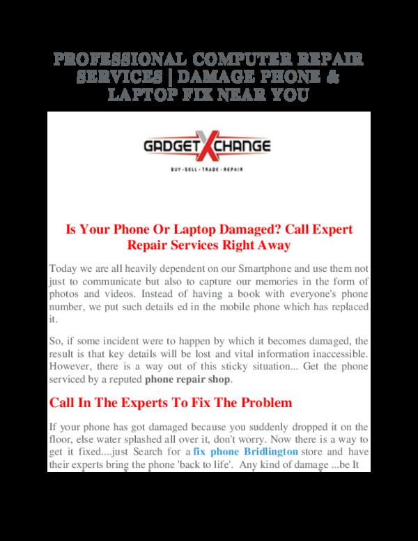 PDF) PROFESSIONAL COMPUTER REPAIR SERVICES | DAMAGE PHONE