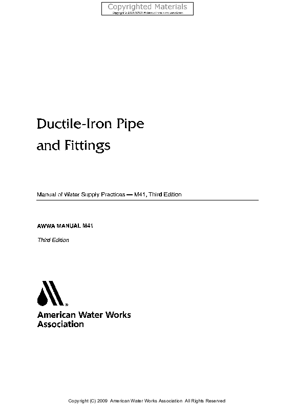 PDF) Ductile-Iron Pipe and Fittings Manual of Water Supply