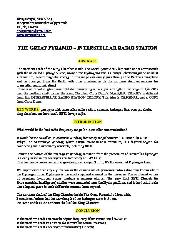 PDF) THE GREAT PYRAMID - INTERSTELLAR RADIO STATION | Hrvoje
