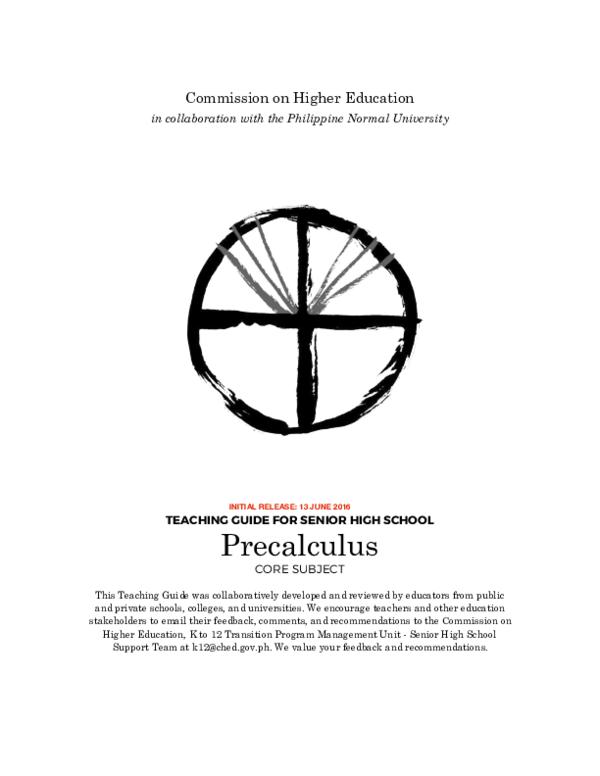 PDF) PRECALCULUS GUIDE - K-12 STEM STUDENTS, PHILIPPINES