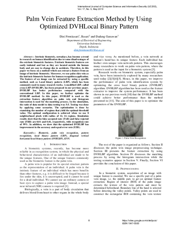 PDF) Palm Vein Feature Extraction Method by Using Optimized DVHLocal