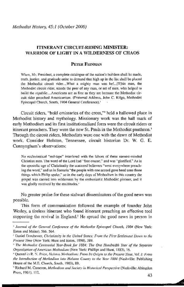 PDF) ITINERANT CIRCUIT-RIDING MINISTER: WARRIOR OF LIGHT IN