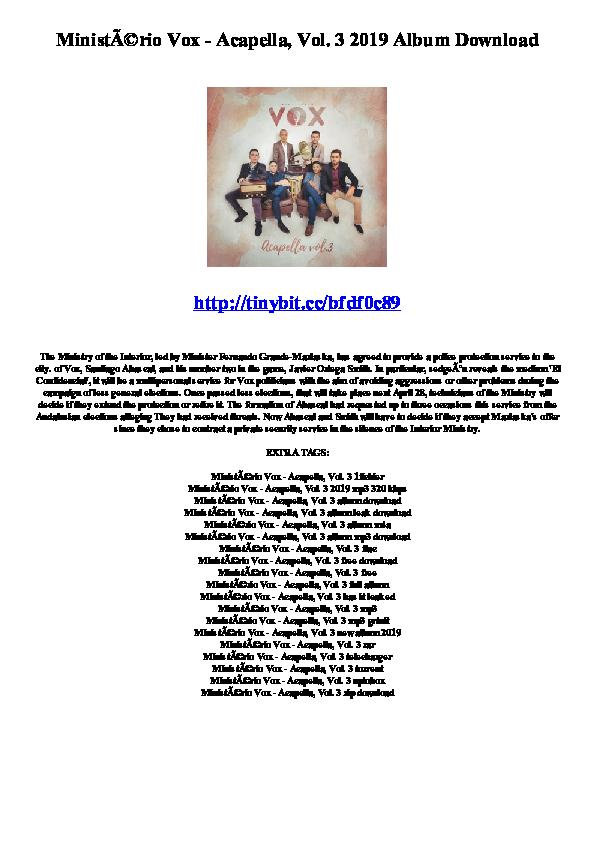 PDF) Ministério Vox - Acapella, Vol  3 2019 Album Download