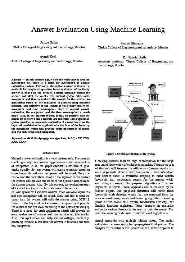 PDF) Answer Evaluation Using Machine Learning | Ayush Kaul