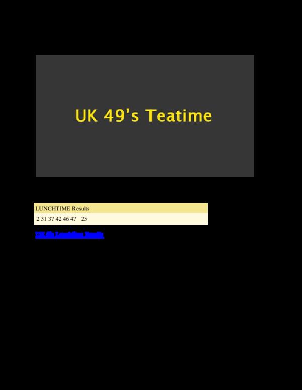 PDF) UK 49s Lunchtime Results | Saif Ishaq - Academia edu