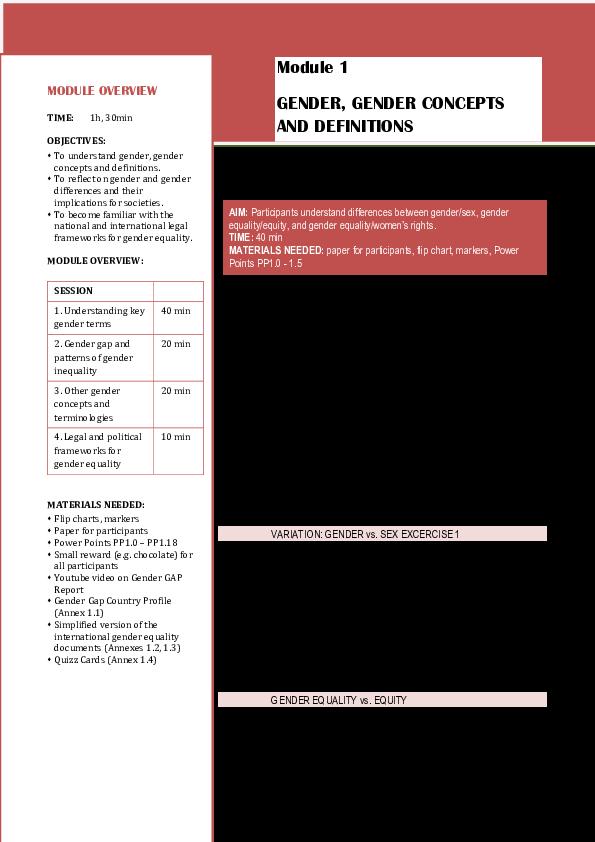 (PDF) Module 1 GENDER, GENDER CONCEPTS AND DEFINITIONS ...