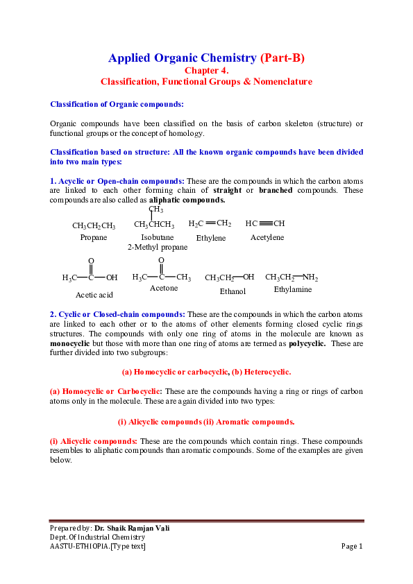 Types Of Organic Chemistry