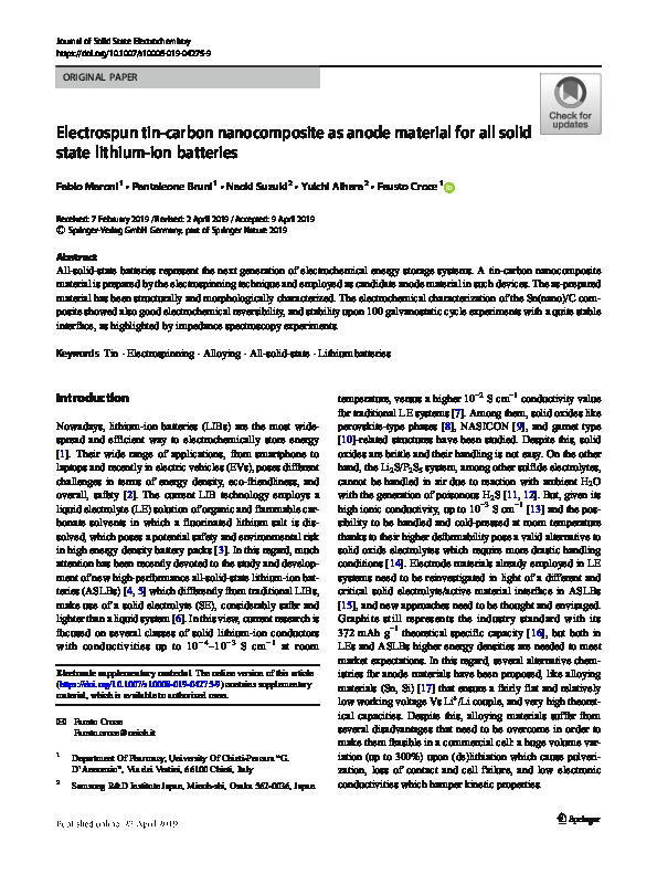 PDF) Electrospun tin-carbon nanocomposite as anode material