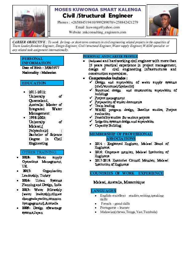 PDF) Curriculum Vitae for Engineer Moses Kalenga | Moses Kalenga
