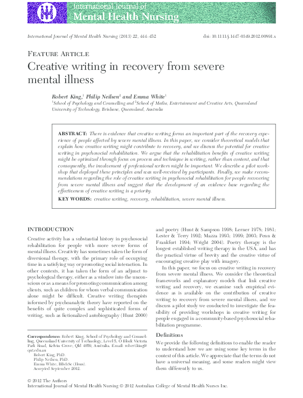 PDF) Creative writing in recovery from severe mental illness