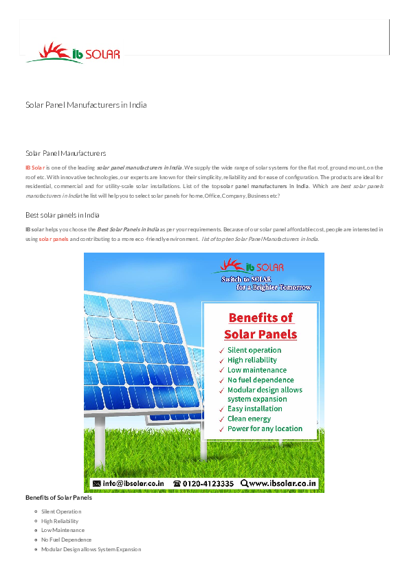 PDF) What is solar panel? Solar panel manufacturers in India | IB