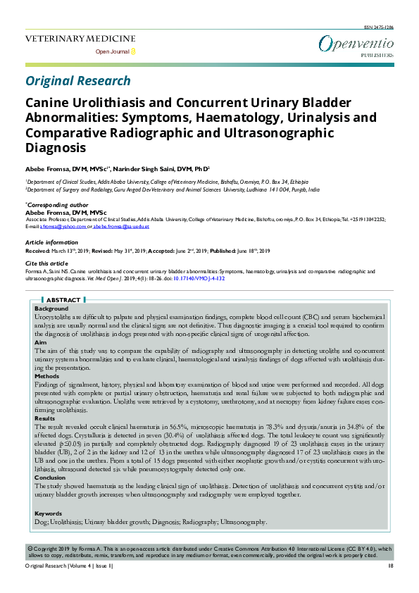 PDF) Canine Urolithiasis and Concurrent Urinary Bladder