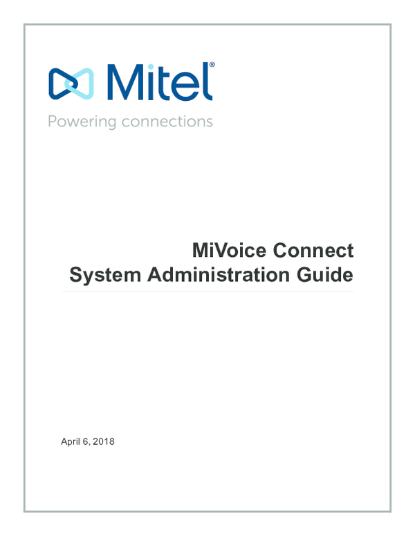 PDF) MiVoice Connect System Administration Guide | Thilina