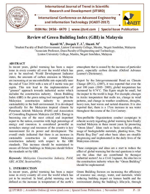 Pdf Review Of Green Building Index Gbi In Malaysia International Journal Of Trend In Scientific Research And Development Ijtsrd Academia Edu