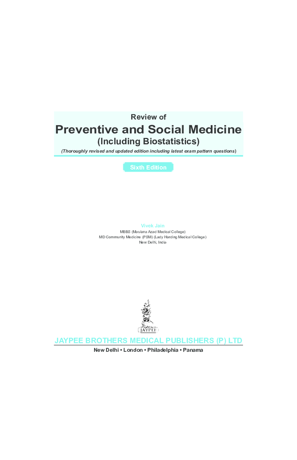 PDF) Sixth Edition Review of Preventive and Social Medicine