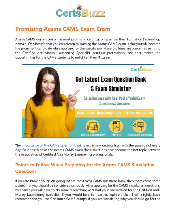 PDF) Seize Success in CAMS Exam with CAMS Exam Question Bank