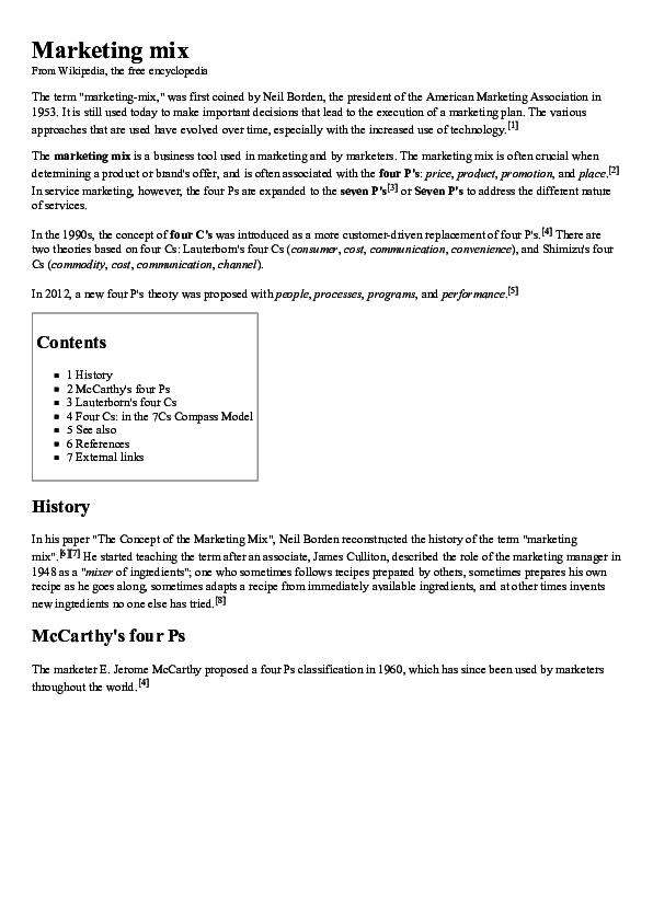 PDF) Marketing mix | Chennakeshava Reddy - Academia edu